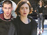 EXCLUSIVE: As reports circulate about a possible hook-up with Nick Jonas, Lily Collins steps out with  a mystery man who's a dead ringer for her ex-boyfriend, Jamie Campbell Bower. The actress and her male companion smiled and giggled as they endured a hike at LA's Fryman Canyon Park.  Pictured: Lily Collins Ref: SPL1217719  030216   EXCLUSIVE Picture by: ?/Splash News  Splash News and Pictures Los Angeles: 310-821-2666 New York: 212-619-2666 London: 870-934-2666 photodesk@splashnews.com