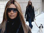 NEW YORK, NY - FEBRUARY 02:  (Exclusive Coverage) Iman is seen walking her dog in New York City for the first time since David Bowie's passing on February 2, 2016.  (Photo by Kevin Mazur/WireImage)
