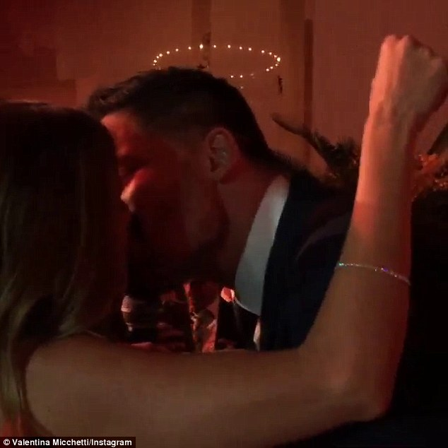 Kiss kiss: The 38-year-old actor leaned in for a kiss during his performance, which was greeted by cheers and applause