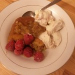 Budget Baking: Self saucing butterscotch pudding with raspberries