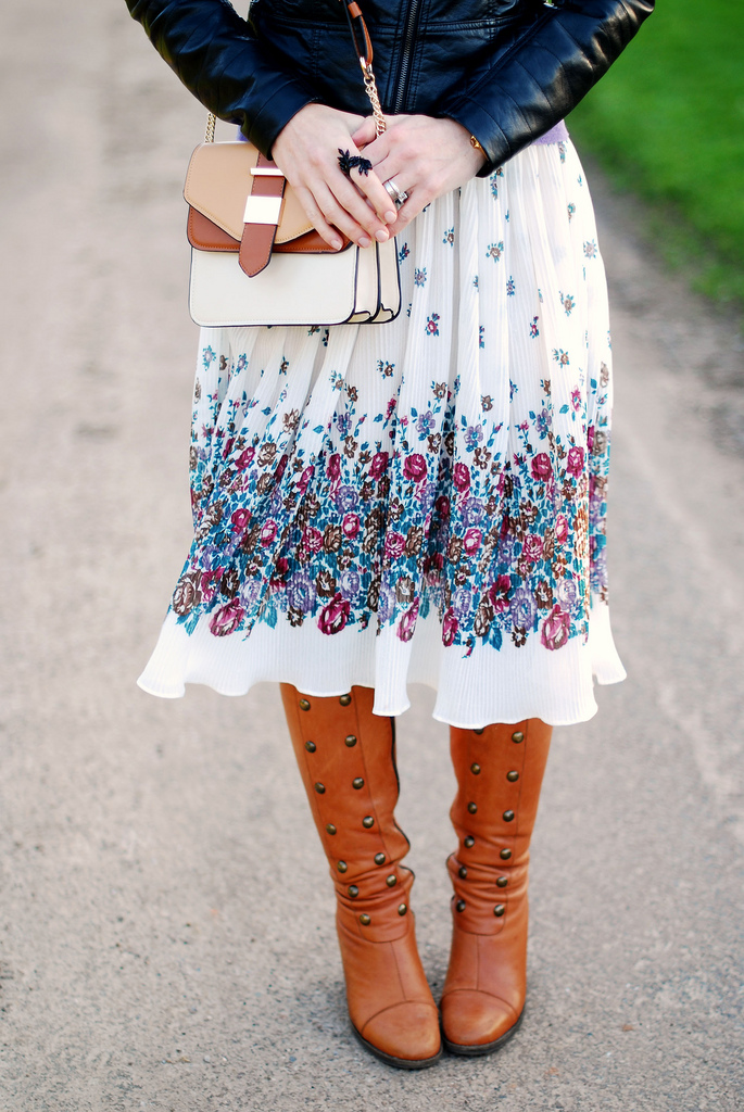 Leather jacket, floral dress & brown boots