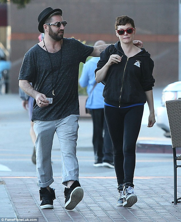 Laid-back look: Rose McGowan was seen out and about with husband Davey Detail after grabbing a bite to eat in West Hollywood, California on Saturday