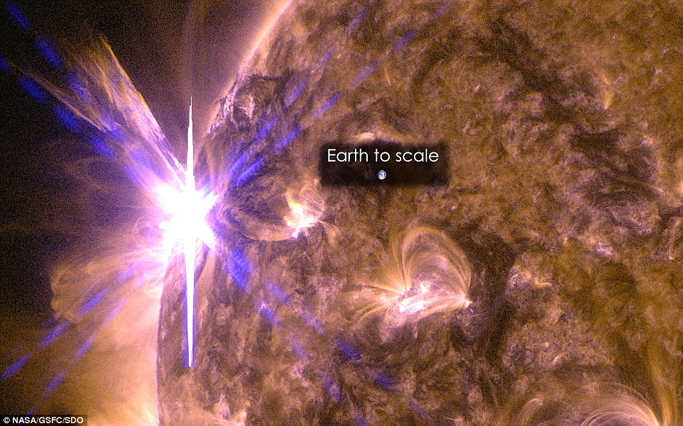 An X2.7 class solar flare flashes on the edge of the sun on May 5, 2015. This image was captured by NASA's Solar Dynamics Observatory and shows a blend of light from the 171 and 131 Ångström wavelengths. The Earth is shown to scale