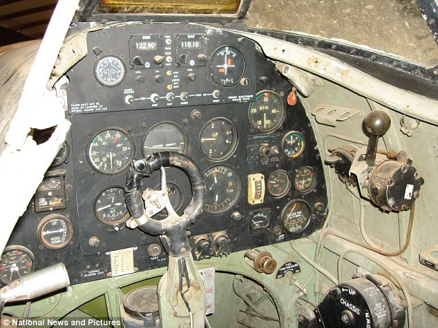The aircraft's cockpit is in remarkable condition despite being 70 years old and not been used for 40 years