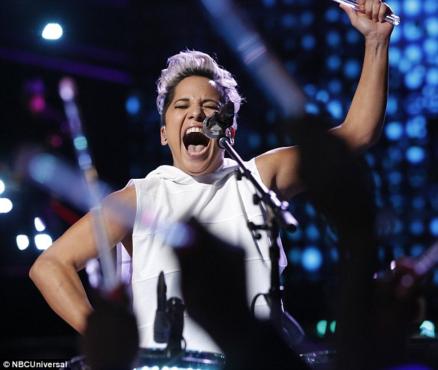 Having fun: Vicci Martinez from season one of the The Voice also performed for the crowd