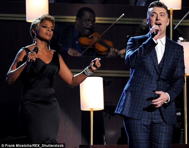 Singing a new tune: The beauty recently recorded The London Sessions, her 13th studio album, featuring collaborations with Sam Smith and other Brit stars; seen above she performed with Sam Smith in February at the Grammys