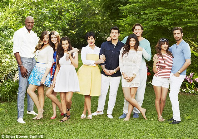 Family battles: Kim insists that the family, Lamar Odom (now divorced from) Khloe Kardashian, Kendall Jenner, Kim Kardashian,Kris Jenner, Rob Kardashian, Kylie Jenner (now divorced from) Bruce Jenner, Kourtney Kardashian (with partner) Scott Disick, will always support each other