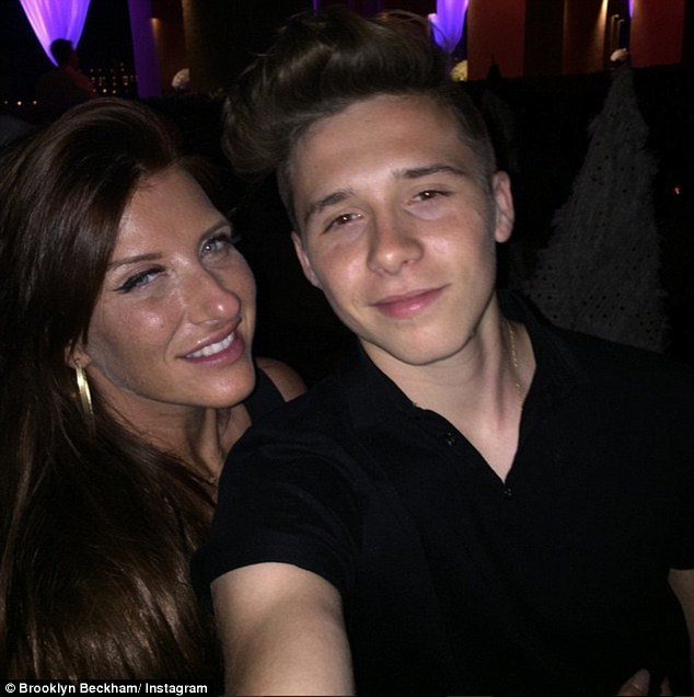 Selfie time: David's oldest son Brooklyn shared a snap with his aunt Joanne as he partied the night away