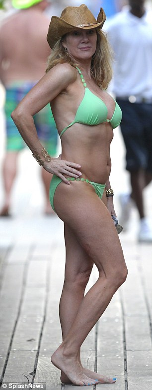 Flaunting her figure: Ramona seemed to show off a bigger bust while in Miami in December (L) - a month after her rumored boob job - than in a photo from a visit there in 2012 (R)
