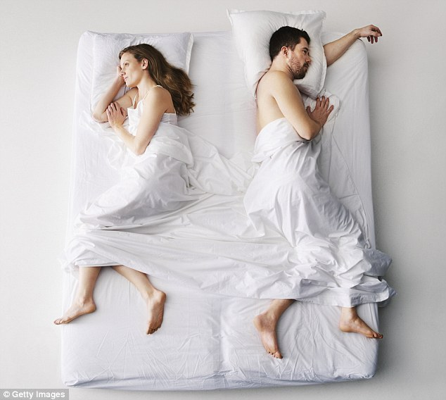 Most medical research shows couples who share a bed tend to live longer, but many married women say it's difficult to get a decent night's sleep (stock image)