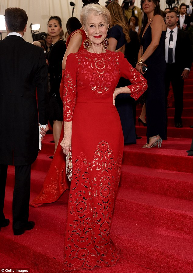 Slimmer: The 69-year-old actress looked radiant in red at the Met Gala in New York on Monday