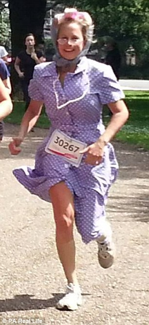After surviving cervical cancer, Hannah took part in the 2013 Race For Life dressed as an elderly woman in pearls, rollers and headscarf