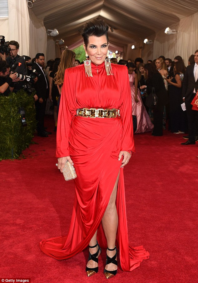 Power dressing: Kris at the Met Gala in New York on Monday