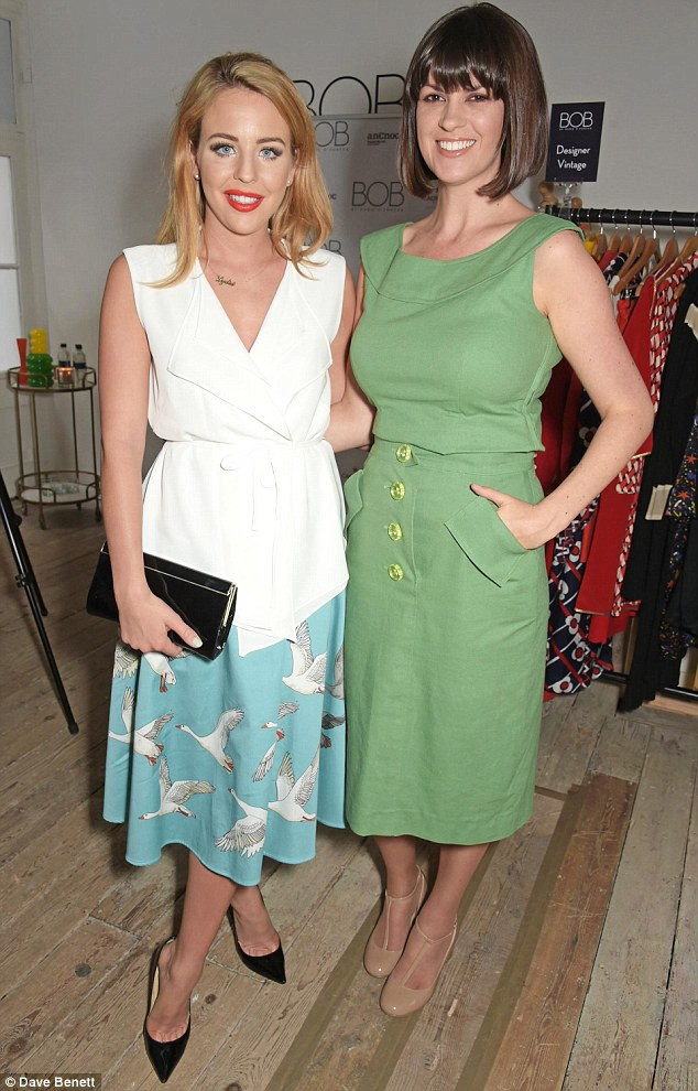 Looking good: Dawn O'Porter (right) showed off her incredible post-baby figure as she caught up with TOWIE's Lydia Bright at Dawn's pop-up boutique launch party in London's Covent Garden on Wednesday