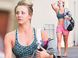 """08 Feb 2016 - Studio City, CA - USA\n*** STRICTLY AVAILABLE FOR UK AND GERMANY USE ONLY ***\n*EXCLUSIVE ALL ROUND PICTURES* \nKaley Cuoco and her friend were spotted leaving yoga class in the afternoon. The Big Bang actress made waves in her short shorts and her sports bra. The actress' body was fit and athletic. She and her close friend were having a hilarious convo and Kaley couldn't help but burst into tears from the joke. She was sporting a witty, """"We've All Got Baggage,"""" duffel bag by 2Nostalgik. \nBYLINE MUST READ : AKM-GSI-XPOSURE\n***UK CLIENTS - PICTURES CONTAINING CHILDREN PLEASE PIXELATE FACE PRIOR TO PUBLICATION ***\n*UK CLIENTS MUST CALL PRIOR TO TV OR ONLINE USAGE PLEASE TELEPHONE 0208 344 2007*\n"""