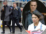 Pics Paul Cousans/Zenpix Ltd 'Cold Feet' continues to film in Manchester as filming appears to show Adam(James Nesbitt) leaving a hotel with a beautiful  woman fueling speculation he reties the knot  15 years after his screen wife played by Helen Baxendale dies in a horrific car crash Carrying  cases Adam heads to a taxi adorned with man Utd scarf and 'Just Married' as John Thomson(Pete Gifford) puts the cases into the boot. Thomson and Nesbitt head to filming