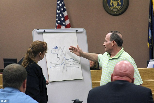 Steve Martin, who claims he was p2008 Livonia road rage victim, is asked by the prosecutor to draw a map of the Farmington Road area at the Livingston County Circuit Court on Tuesday, May 5, 2015 in Howell, Mich. Zale, a 69-year-old man charged with murder in the fatal shooting of another motorist in southeastern Michigan fired in self-defense after being punched in the jaw, a defense lawyer told jurors Tuesday. (Lisa Roose-Church/Livingston County Daily Press & Argus via AP)  NO SALES