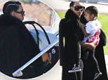 Kim Kardashian catches a private flight to take Saint and Nori to NYC. February 9, 2016 X17online.com