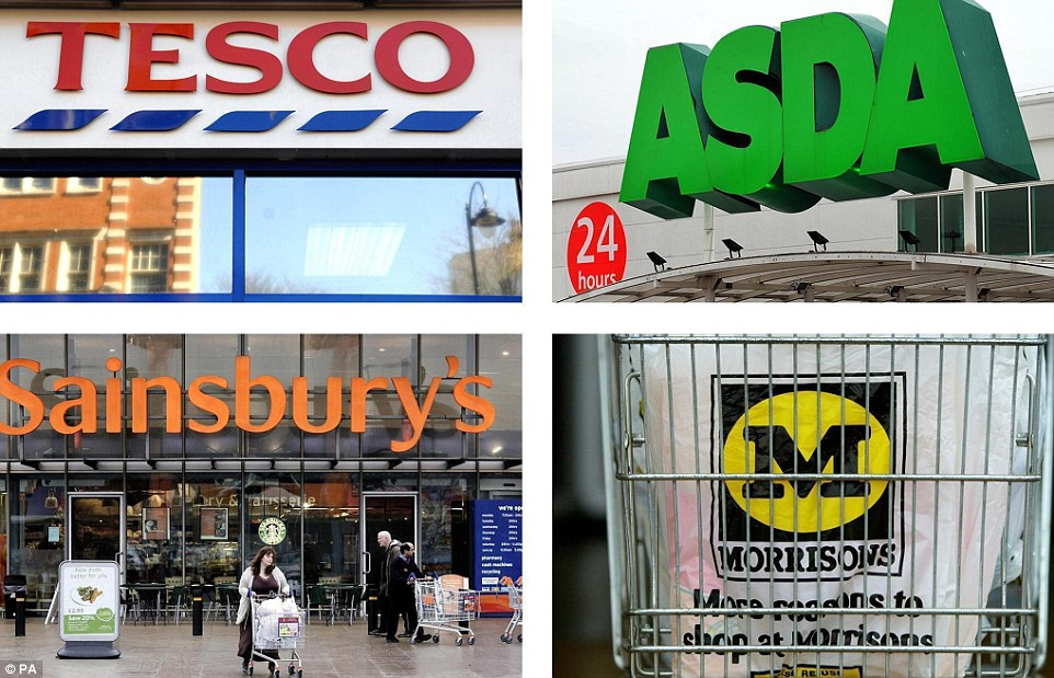 Struggle: The big four supermarkets have all seen sales decline thanks to falling commodity prices and relentless price wars