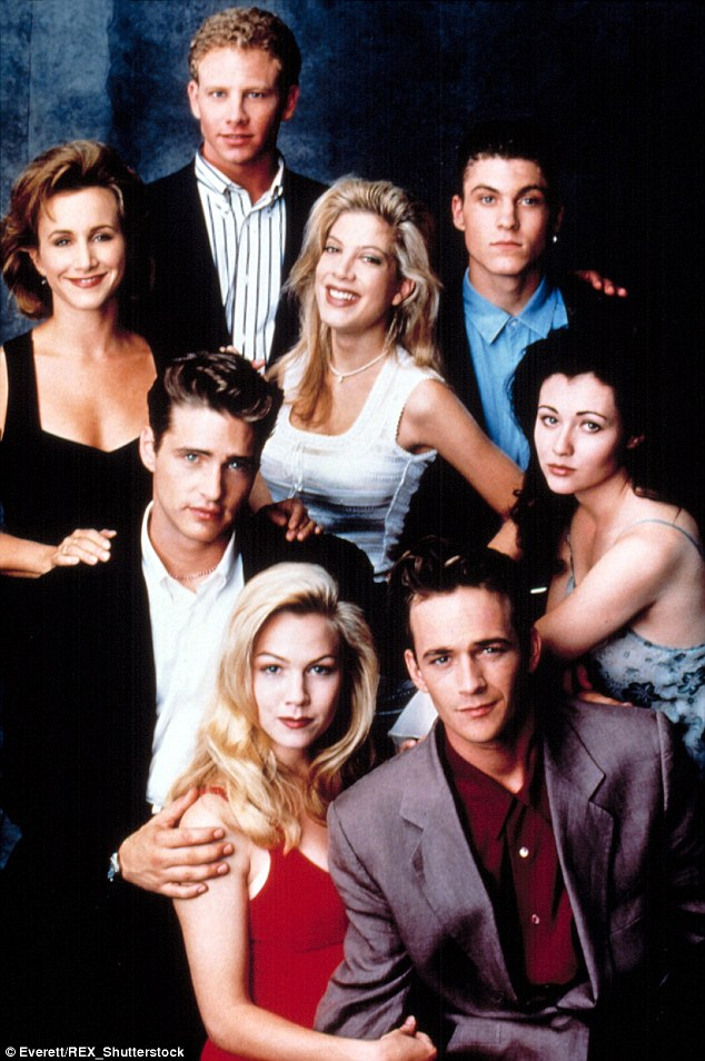 Beverly Hills 90210 followed the lives of rich teens, and starred (Clockwise from left) Gabrielle Carteris, Ian Ziering, Tori Spelling, Brian Austin Green, Shannen Doherty, Luke Perry, Jennie Garth and Jason Priestley