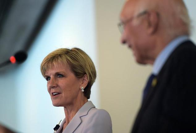 Australian Minister for Foreign Affairs Julie Bishop (L) speaks during a joint press conference with Pakistan's National Security Advisor Sartaj Aziz at the ...