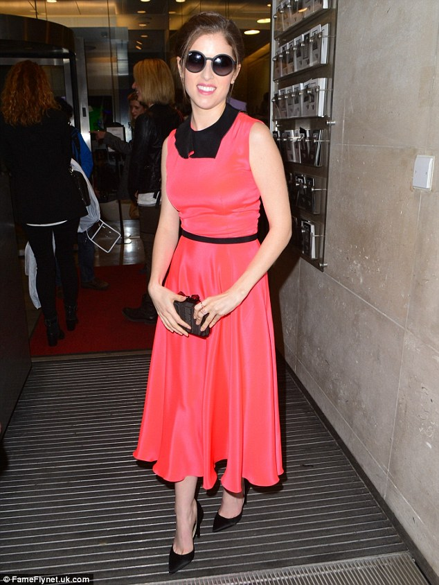 All change! Anna Kendrick looked radiant in a pink silk dress as she left BBC Radio studios for an interview with Lauren Laverne on Wednesday afternoon
