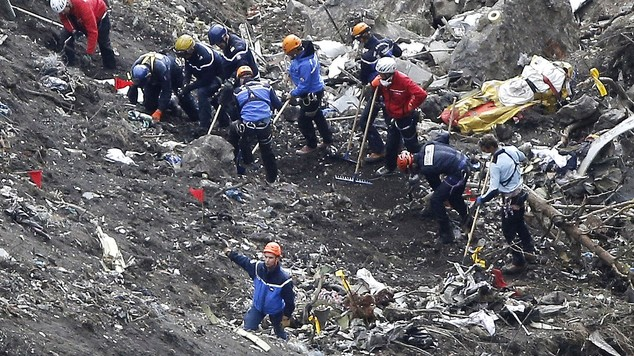 The crash scene in the Alps in March (AP)