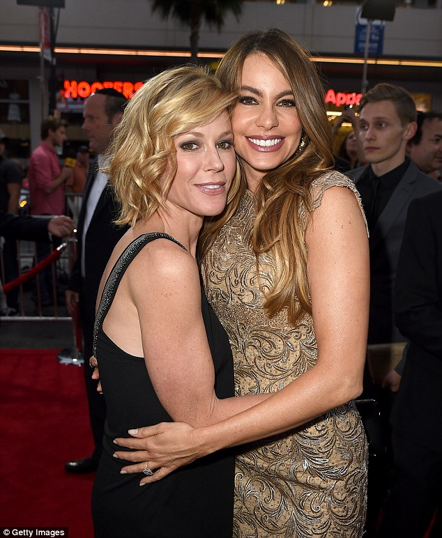 Standing up for her friend: Bowen recently came to her co-star Sofia Vergara's defence - here the actress is pictured with  Vergara  in late April at the Hollywood premiere of Hot Pursuit