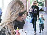 """*EXCLUSIVE* Brentwood, CA - Fergie is Fendi-licious for Super Bowl Sunday while her son Axl reps the Miami Dolphins. The singer was decked out in a bright blue Fendi tote, Fendi Sneakers, and (for something a little different) an Eleven Paris """"Karl Is My Father"""" Sweater. The duo stopped by Acai Nation on Super Bowl Sunday to grab a pregame snack.    AKM-GSI          February 7, 2016 To License These Photos, Please Contact : Steve Ginsburg (310) 505-8447 (323) 423-9397 steve@akmgsi.com sales@akmgsi.com or Maria Buda (917) 242-1505 mbuda@akmgsi.com ginsburgspalyinc@gmail.com"""