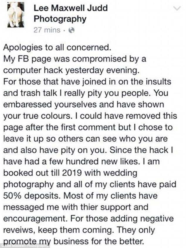 Mr Maxwell Judd apologised for the Facebook message and said his account had been hacked