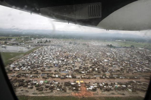 This picture released by Caritas International shows an aerial view of the refugee camp at Mpoko airport on March 3, 2014 in Bangui