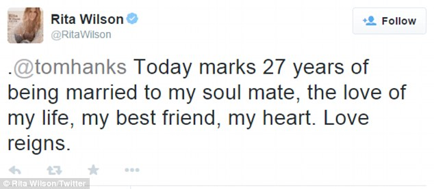 Rita tweeted last Thursday:'Today marks 27 years of being married to my soul mate, the love of my life, my best friend, my heart. Love reigns'
