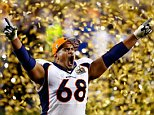SANTA CLARA, CA - FEBRUARY 07:  Ryan Harris #68 of the Denver Broncos celebrates after defeating the Carolina Panthers during Super Bowl 50 at Levi's Stadium on February 7, 2016 in Santa Clara, California. The Broncos defeated the Panthers 24-10. (Photo by Al Bello/Getty Images) *** BESTPIX ***