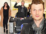 NARITA, JAPAN - FEBRUARY 09:  Nick Carter and wife Lauren Kitt Carter are seen upon arrival at Narita International Airport on February 9, 2016 in Narita, Japan.  (Photo by Jun Sato/GC Images)