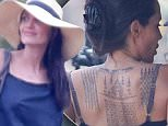 **MAIL ONLINE ONLY**\\n**HOLD UNTIL 12PM SUNDAY 7th FEB (PST)**\\n\\nWORLD EXCLUSIVE. Coleman-Rayner. Siem Reap, Cambodia. \\nFebruary 5, 2016  \\nAngelina Jolie flashes a dramatic, never-before-seen full back tattoo while shooting scenes for her upcoming movie, ¿First They Killed My Father' in Cambodia. The mother-of-six and goodwill ambassador was all smiles as she mingled among cast and crew on location in historic Angor Watt Temple complex.\\nCREDIT LINE MUST READ: Karl Larsen/Coleman-Rayner\\nTel US (001) 323 545 7548 - Mobile \\nTel US (001) 310 474 4343 - Office\\nwww.coleman-rayner.com\\n
