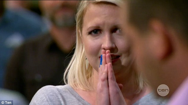 Emotions running high: The blonde beauty pressed her hands together while she awaited the judges verdict
