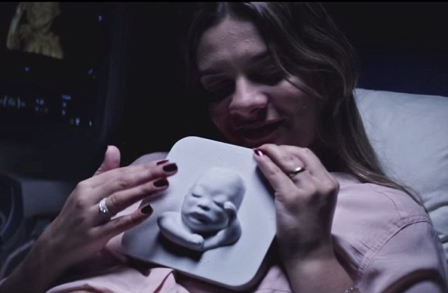 Embracing the moment: Tatiana is one of several blind mothers who were able to meet their unborn babies thanks to a new ad campaign by Huggies.