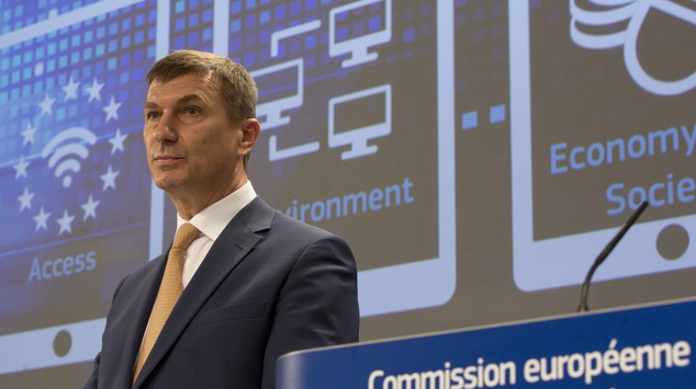 European Commissioner for Digital Single Market Andrus Ansip speaks during a media conference at EU headquarters in Brussels on Wednesday, May 6, 2015. The E...