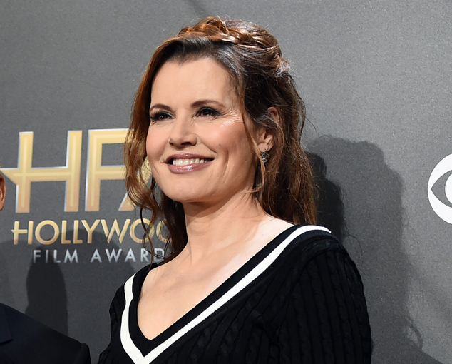 FILE - In this Nov. 14, 2014 file photo, Geena Davis poses in the press room at the Hollywood Film Awards at the Palladium in Los Angeles. Davis is launching...