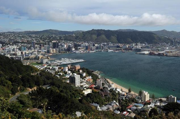 A view of Wellington in New Zealand, seen from Mount Victoria Lookout