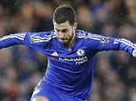 Chelsea's Eden Hazard runs with the ball during the English Premier League soccer match between Chelsea and Manchester United at Stamford Bridge stadium in London, Sunday, Feb. 7, 2016.  (AP Photo/Frank Augstein)