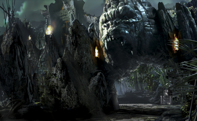 """This concept art rendering released by Universal Orlando shows a scene from the upcoming thrill ride called """"Skull Island: Reign of Kong,"""" opening in the sum..."""