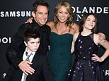 """NEW YORK, NY - FEBRUARY 09:  Quinlin Stiller, Ben Stiller, Christine Taylor and Ella Stiller attend the """"Zoolander 2"""" World Premiere  at Alice Tully Hall on February 9, 2016 in New York City.  (Photo by Dimitrios Kambouris/Getty Images)"""