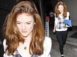 08 Feb 2016 -West Hollywood, CA - USA *** STRICTLY AVAILABLE FOR UK AND GERMANY USE ONLY *** Rose Leslie is in good spirits as she leaves a dinner at Craig's Restaurant in West Hollywood. The actress, who plays the character Ygritte in 'Game of Thrones' dressed casual in a white blazer over a plaid top, skinny black jeans and patent black shoes. Rose added a touch of color with a blue clutch. BYLINE MUST READ : AKM-GSI-XPOSURE ***UK CLIENTS - PICTURES CONTAINING CHILDREN PLEASE PIXELATE FACE PRIOR TO PUBLICATION *** *UK CLIENTS MUST CALL PRIOR TO TV OR ONLINE USAGE PLEASE TELEPHONE 0208 344 2007*