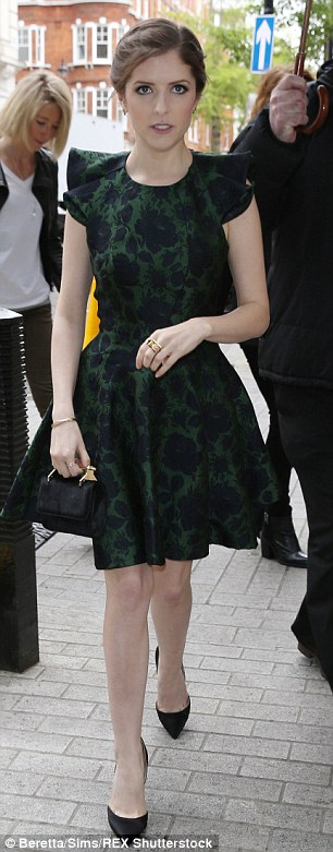 Considered look:Anna teamed her dress with a pair of conventional black stiletto heels for her latest public appearance