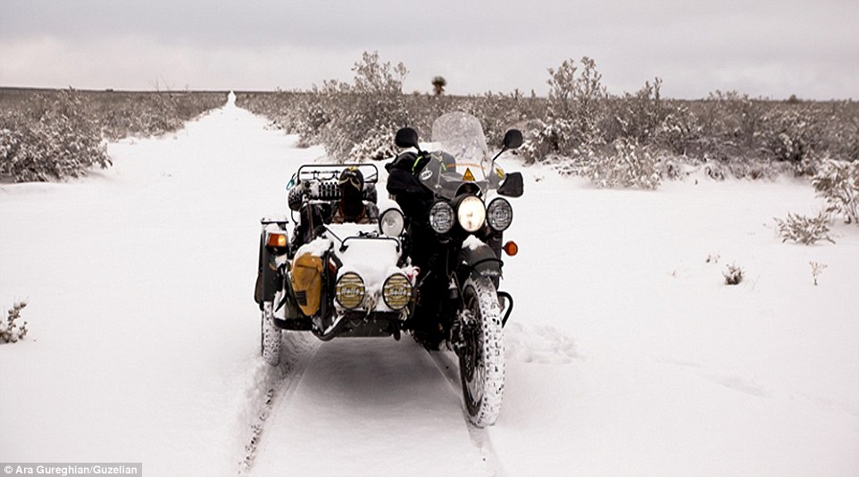 The duo have since travelled parts of West and Central America on a motorcycle and sidecar, braving heavy storms and even snow