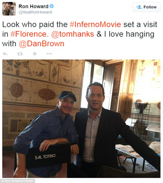 'I love hanging with @DanBrown!'Her 58-year-old beau is currently in Florence reprising his role as Robert Langdon in Da Vinci Code three-quel, Inferno