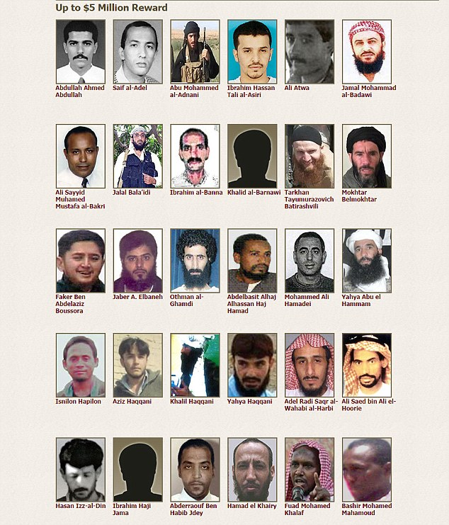 Dozens of other terror leaders also feature on the list, with rewards ranging from $1million to $25million