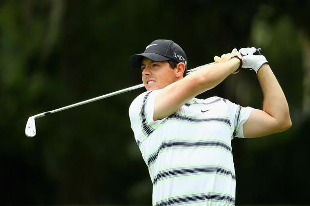 Rory McIlroy of Northern Ireland plays a shot during a practice round for THE PLAYERS Championship at the TPC Sawgrass Stadium course on May 6, 2015 in Ponte...