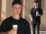 Beverly Hills, CA - Justin Bieber stops by Bouchon for a coffee on Monday. The singer wore a black monochrome casual look paired with tan Yeezy Boost 350s on a hot LA day as temperatures reach the low 90s. \n  \nAKM-GSI        February 8, 2016\nTo License These Photos, Please Contact :\nSteve Ginsburg\n(310) 505-8447\n(323) 423-9397\nsteve@akmgsi.com\nsales@akmgsi.com\nor\nMaria Buda\n(917) 242-1505\nmbuda@akmgsi.com\nginsburgspalyinc@gmail.com